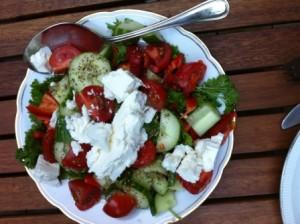 en vaak ook nog een lekkere salade erbij zoals deze met tomaat, paprika, peterselie, komkommer en feta