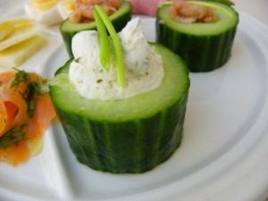 Komkommer met roomkaas