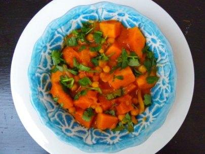 curry van pompoen en kikkererwt