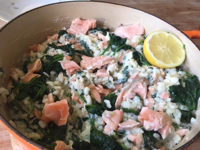 risotto met geitenkaas spinazie en zalm