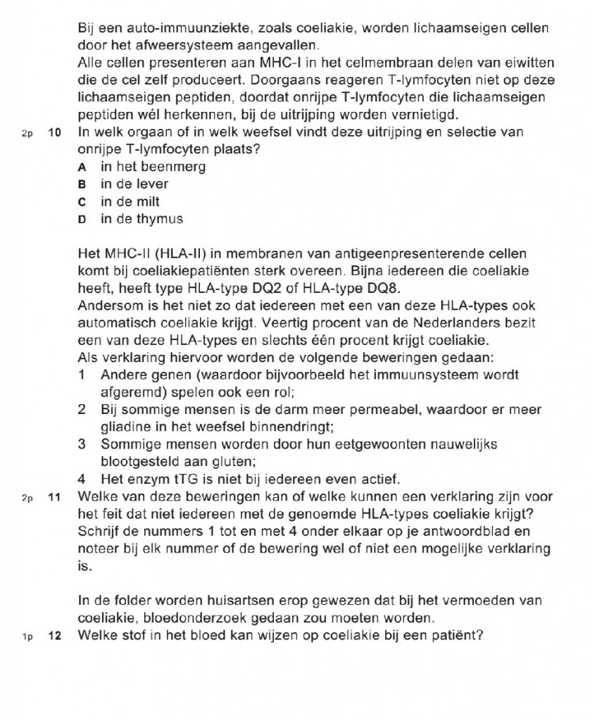 biologie vwo 2015 over coeliakie