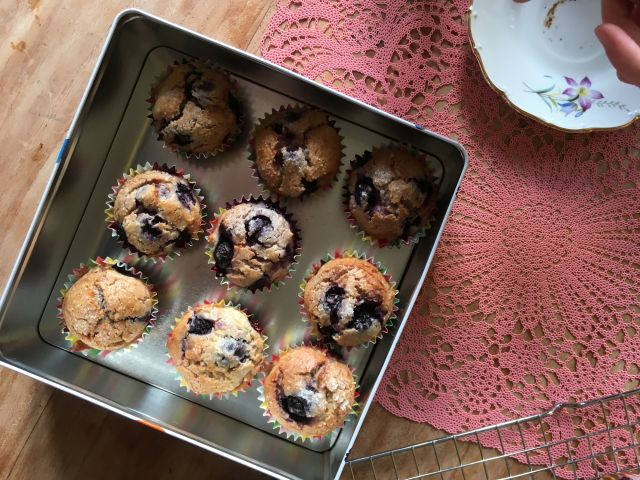 Bosbessen-creamcheese boekweitmuffins